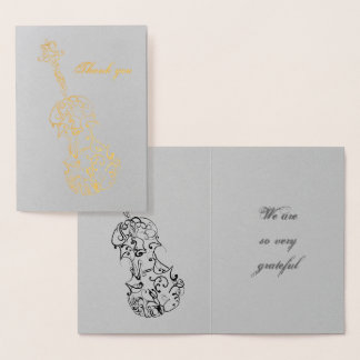 Thank You Violin Line Drawing Foil Card