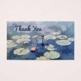 Thank You Water Lily Painting Blue Floral Lilies Business Card