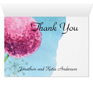 Thank You watercolor Allium floral Card