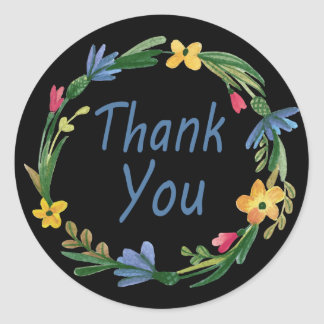 Thank You Watercolor Floral Wreath Black Round Sticker
