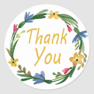 Thank You Watercolor Floral Wreath Round Sticker