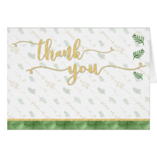 THANK YOU Watercolor Green & Gold Typography Card