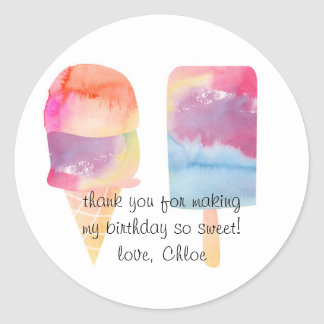 Thank You Watercolor Ice Cream Stickers
