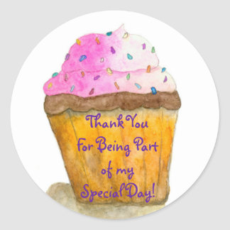 Thank You, Watercolors Pink Cupcake, Sprinkles Round Sticker