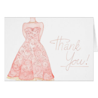 Thank You watercolour wedding note Card