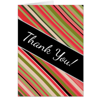 """Thank You!"" + Watermelon-Inspired Stripes Card"