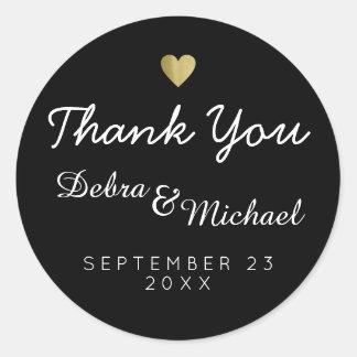 'thank you', wedding black round sticker
