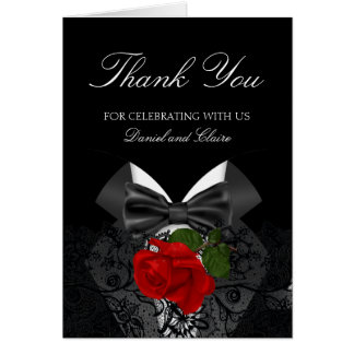 Thank You Wedding Black White Tuxedo Deep RED Rose Card