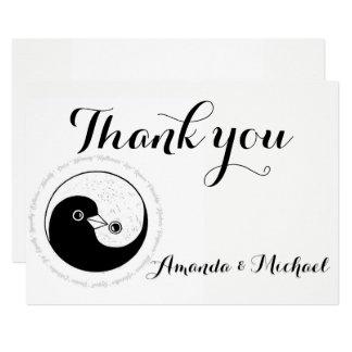 THANK YOU WEDDING CARD b/w YinYang doves Harmony