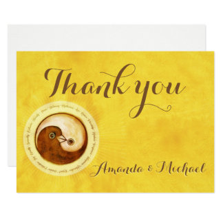 THANK YOU WEDDING CARD Gold YinYang doves Harmony
