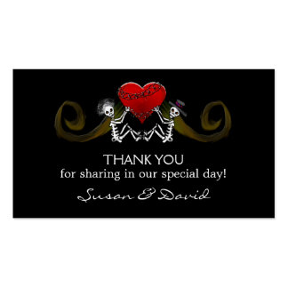 Thank You Wedding Cards - Skeletons Holding Heart Pack Of Standard Business Cards