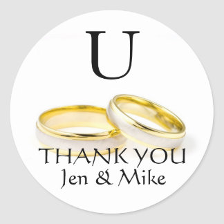Thank You Wedding Favor Stickers Gold Rings