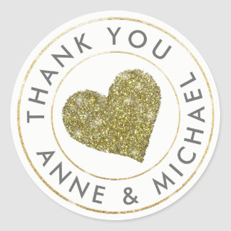 thank you / wedding favor with gold heart classic round sticker