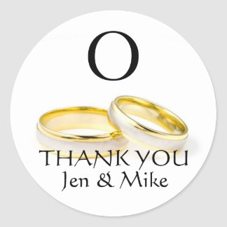 Thank You Wedding Favour Stickers Gold Rings