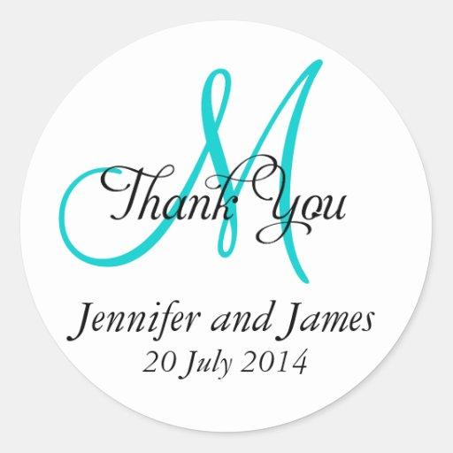 Thank You Wedding Favour Stickers Monogram Aqua