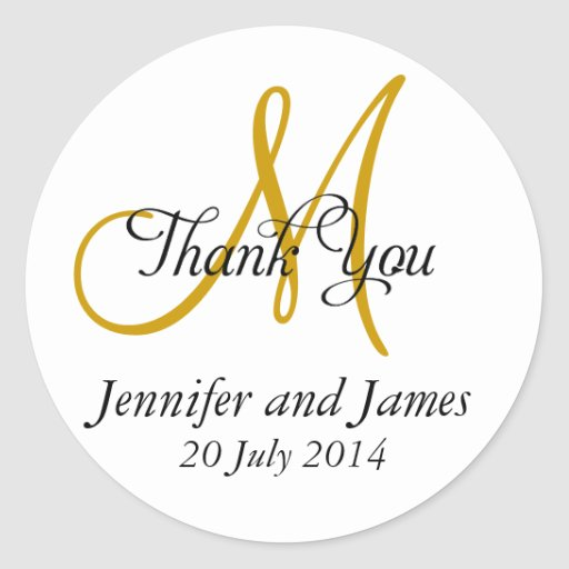 Thank You Wedding Favour Stickers Monogram Gold