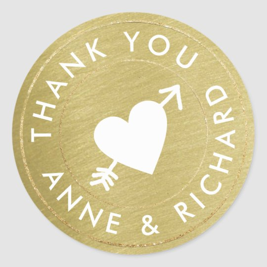 thank you . wedding favours, faux gold classic round sticker