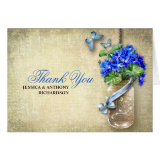 thank you wedding mason jar burlap design cards
