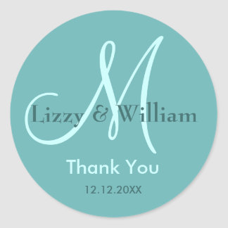 Thank You Wedding Monogram Sticker