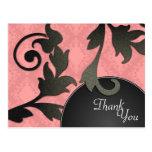 Thank You Wedding Postcard Black & Coral Damask