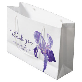 Thank you wedding purple iris mother favor bag