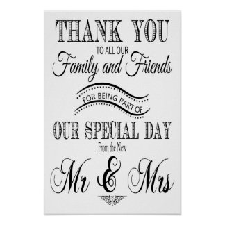 Thank you wedding sign black and white
