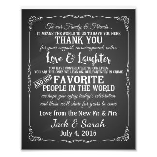 Thank you wedding sign customised chalkboard photo art