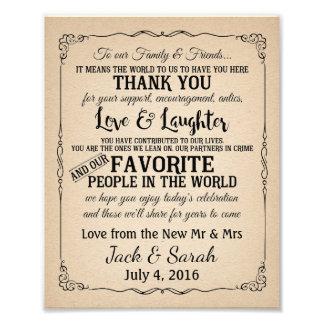 Thank you wedding sign customised photo print