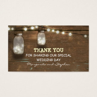thank you wedding tag with string lights mason jar
