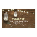 thank you wedding tag with string lights mason jar pack of standard business cards