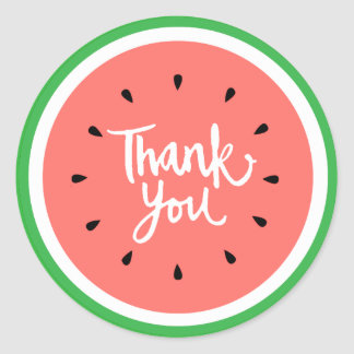 thank you white handlettering watermelon classic round sticker