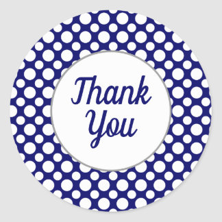 Thank You White Polka Dots on Blue Sticker
