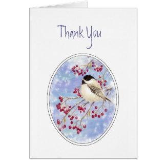 Thank You Winter Bird Berry Frosty Window Card