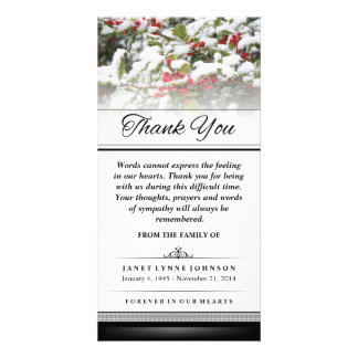 Thank You Winter Ivy Snow - Words Cannot Express Photo Card Template