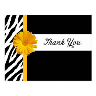Thank You With Zebra Print and Girly Yellow Daisy Postcard