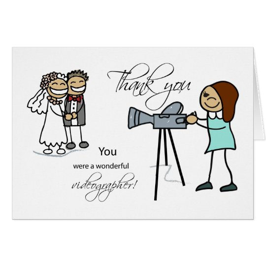Thank You Woman Videographer, Wedding Card