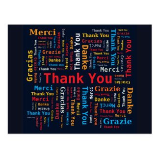 Thank You Word Cloud 5 Languages Black Background Postcard