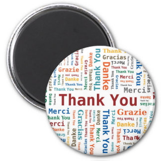 Thank You Word Cloud in 5 languages 6 Cm Round Magnet