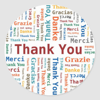 Thank You Word Cloud in 5 languages Classic Round Sticker