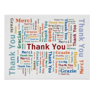 Thank You Word Cloud in 5 languages - Multicolored Poster