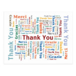 Thank You Word Cloud in 5 languages Post Card