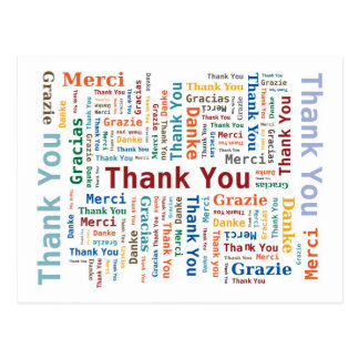 Thank You Word Cloud in 5 languages Postcard