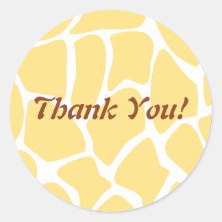 Thank You. Yellow and White Giraffe Pattern. Sticker