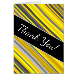 """Thank You!"" + Yellow & Gray Stripes Pattern Card"