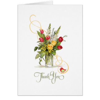 Thank you Yellow Rose and Red Tulip Bouquet Greeting Card