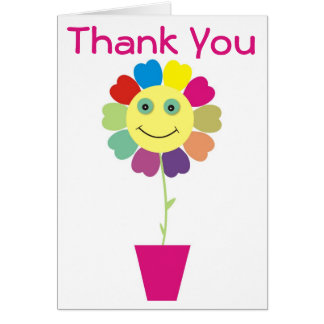 Thank You Yellow Smiley Face Sunflower Pink Greeting Card