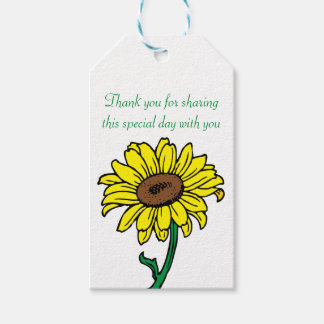 Thank You Yellow  Sunflower Green Wedding Gift Tags