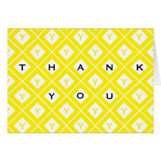 """Thank You"" Yellow/White Geometric Blocks Card"