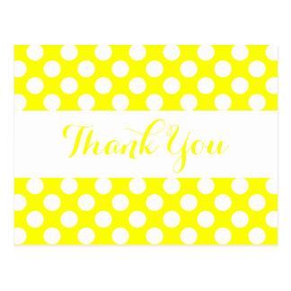 Thank You Yellow & White Polka Dots Postcard