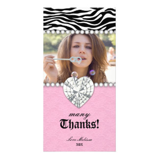 Thank You Zebra Lace Pearls Jewel Sweet 16 Personalized Photo Card